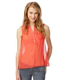 Sheer Sleeveless Woven Shirt - Aeropostale