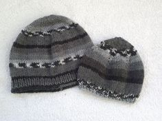 Knitted fatherson beanies mens beret hat in by KnitterPrincess, $29.90