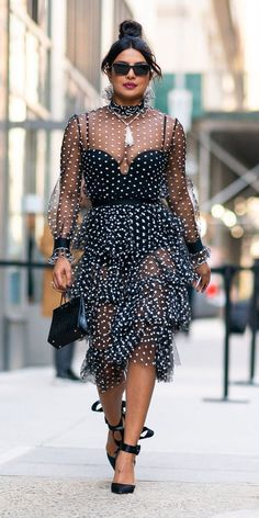 Priyanka Chopra stepped out in NYC wearing a sheer Philosophy di Lorenzo Serafini polka-dot dress, which was paired with La Perla lingerie, Christian. Star Fashion, Look Fashion, Trendy Fashion, Priyanka Chopra, Dot Dress, Peplum Dress, Red Carpet Gowns, Prabal Gurung, Her Style