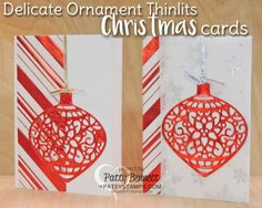 Red and Gold foil Christmas cards featuring Stampin' Up! Delicate Ornament thinlit dies.  Silver foil snowflakes and red striped foil vellum from the Holidays Fancy Foil Vellum pack. Christmas cards by Patty Bennett at pattystamps.com