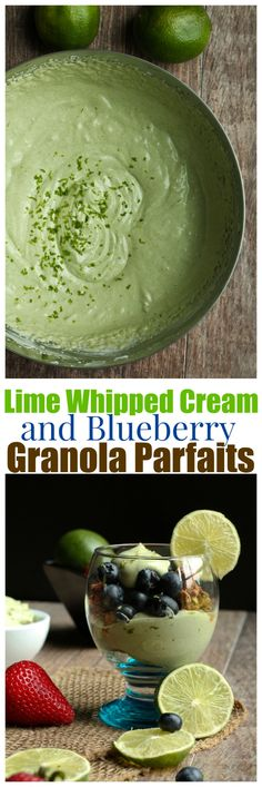 Lime Whipped Cream and Blueberry Granola Parfaits! Perfect for a healthy breakfast or snack or dessert! Wonderful citrus flavor contrast to a Sunbutter Molasses Granola! | http://TheVegan8.com | #vegan #breakfast #granola #parfait #blueberry #lime #whippedcream #dairyfree #citrus #sunbutter #molasses