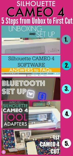Silhouette CAMEO 4 Set Up and Getting Started Tutorials - Silhouette School Silhouette Cameo 4, Silhouette School Blog, Silhouette Cameo Tutorials, Silhouette Machine, Silhouette Projects, Silhouette Design, Silhouette Files, Free Silhouette, Silhouette America