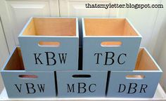 "That's My Letter: ""M"" is for Mudroom Bins monogrammed mudroom locker bins Mudroom Bench Plans, Mudroom Storage Bench, Mudroom Cubbies, Wooden Storage Boxes, Storage Bins, Garage Lockers, Diy Storage, Wooden Boxes, Diy Projects To Build"