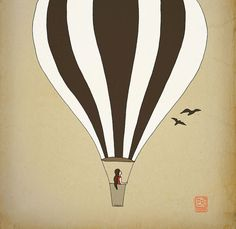 Hot air balloon Children room Art Print 12x16 nursery poster Illustration kids room | $36