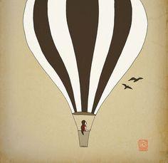 Hot air balloon Children room Art Print 12x16 nursery poster Illustration kids room | $36