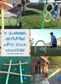 Water noodle activities- I wanna do the javelin one!
