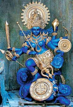 "Durga, the Mother Goddess. Durga is the warrior aspect of the Divine Mother/Brahman(Supreme Absolute Godhead). Durga, meaning ""the inaccessible"" or ""the invincible"", is a popular fierce form Indian Gods, Indian Art, Blue Dream, Kali Goddess, Mother Goddess, Kali Ma, Religion, Sacred Feminine, Divine Feminine"