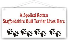 A Spoiled Rotten Staffordshire Bull Terrier Lives Here