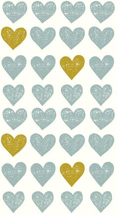 hearts in blue and chartreuse  | ashley goldberg