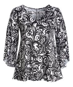 Loving this Black & White Scroll Butterfly-Sleeve Tunic - Plus on #zulily! #zulilyfinds