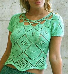 Green Thread for summer - knitting and crochet. Pattern is in a foreign language, but the Top is so nice, I just have to share it. The diagram for the top border (crochet) is at source, as well as a diagram for the knitting. (Do all knitting diagrams use the same symbols, like in crochet??)