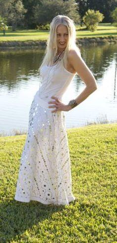 Nice Vintage White Sequin Mexican Wedding Style Bohemian Hippie Festival dress Skirt
