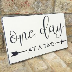 One Day at a Time Distressed Wood Sign Rustic Home Decor