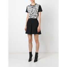 Fausto Puglisi Zebra Print T-Shirt ($193) ❤ liked on Polyvore featuring tops, t-shirts, white tee, white top, white cotton tee, white t shirt y fausto puglisi