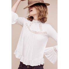 Eri + Ali Rayne Swing Top ($60) ❤ liked on Polyvore featuring tops, white, white swing top, white trapeze top, white top, button back top and trapeze top