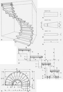 Drawings of wood stairs with his hands Spiral Staircase Plan, Stair Plan, Staircase Design, Stairs Measurements, 20x40 House Plans, Round Stairs, Types Of Stairs, Expansion Joint, Home Plans