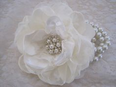 Ivory Romantic Rose Pearl Wrist Corsage Cuff by theraggedyrose, $28.00