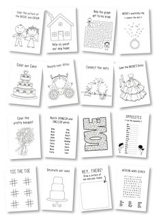 ** Personalized Kids Wedding activity books **  This listing is for 6 activity books with or without crayons. The book cover is personalized with the wedding couple names, with accents in the color of your choice. Cover can be done in white or natural kraft cover stock. This is a great way to make the children feel welcomed and maybe give the parents a chance to enjoy their meal. THIS LISTING INCLUDES: 6 Activity/coloring books with personalized cover (5.5 x 8.5 inches) 6 Boxes with 4…