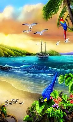 Art Discover 45 Ideas For Painting Acrylic Sea Beach Mural Beautiful Nature Pictures, Beautiful Flowers Wallpapers, Beautiful Nature Wallpaper, Beautiful Paintings, Beautiful Landscapes, Beach Mural, Beach Art, Seascape Paintings, Landscape Paintings