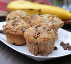 Banana Walnut Chocolate Chip Muffin Light and full of banana flavor together with a few chocolate chips and chopped walnuts on top.  All organic ingredients and unbromated flours.  #muffin #breakfast #banana