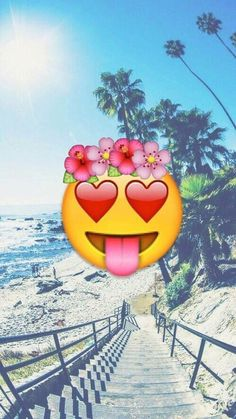 Imagen de emoji, beach, and wallpaper