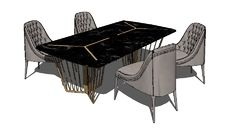 Model of Chair vittoria frigerio Poggi High capitonne, Alfieri table Sketch Up Warehouse, 3d Warehouse, Industrial Interior Design, Modern Industrial, Industrial Furniture, Modelos 3d, Modern Table, Apartment Interior, Classic