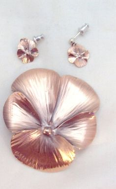 Copper Pansy Pin Pendant and Earrings by NYE by bitzofglitz4u, $45.00
