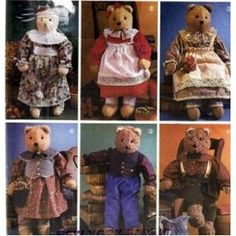 """22"""" Stuffed Jointed Bear with Victorian Clothes"""