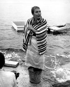Jean Seberg on the set of Bonjour Tristesse directed by Otto Preminger, 1958