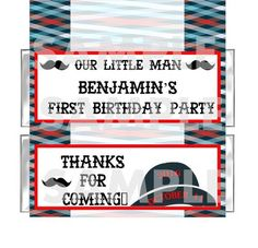 PERSONALIZED Mustache Derby Hat Little Man Birthday Party candy bar wrappers