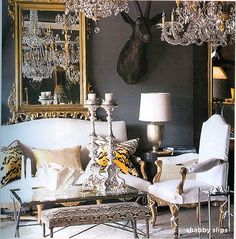 animal print on neutral base--dark grey walls look so rich.  I just don't approve of animal heads adorning the walls