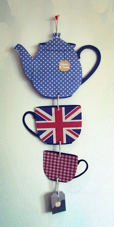 British Tea Party Handmade Hanging Decoration by NerdThatDraws via Etsy