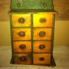 Antique Primitive Apothecary Spice Chest, Wonderful Old Green Paint!!!