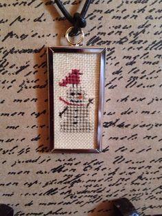 Primitive Snowman Cross Stitch Framed Necklace on Etsy, $12.00