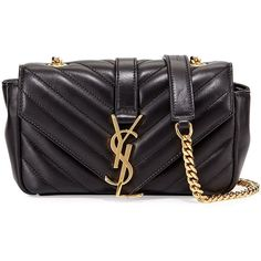 bbb6dae03ed9 Saint Laurent V Flap Lambskin Leather Mini Crossbody Chain Bag ( 1