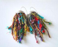 sari silk yarn earrings from katerinaki1977