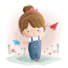 Linda garota brincando com papel plano V. Girl Cartoon, Cute Cartoon, Cute Images, Cute Pictures, Adobe Illustrator, Little Girl Illustrations, Little Girl Drawing, Baby Illustration, Kids Vector