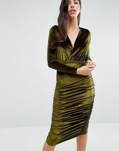 Club L Wrap Front Velvet Midi Dress