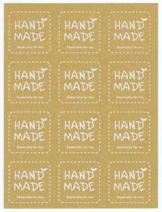 Sticker - Handmade Label, Kraft White, Square