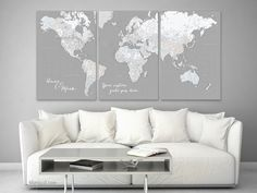 Black World Map 4 Piece Canvas Paneling painted Walls and Wall