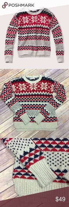 J.Crew Lambswool Fair Isle Nordic Striped Sweater On a cold winter ...