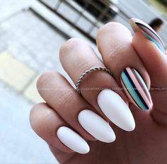 White Coffin Nails, White Nails, Pretty Nails, Fun Nails, Popular Nail Designs, Minimalist Nails, Yellow Nails, Fabulous Nails, Nail Art Hacks