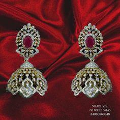 Diamond Earrings Indian, Diamond Jhumkas, Emerald Earrings, Diamond Studs, Silver Earrings, Silver Jewellery Indian, Indian Wedding Jewelry, Stone Jewelry, Gold Jewelry