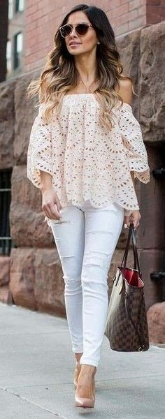 #summer #stylish #style #outfitideas   Nude Off The Shoulder Top + White Jeans                                                                             Source