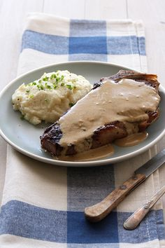 Pan Seared Strip Steak with Mustard Cream Sauce -