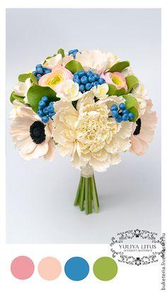 Купить Букет невесты - букет невесты, букет из глины, букет из полимерной глины