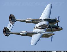 """The Lockheed P-38 Lightning was a World War II American fighter aircraft built by Lockheed. Named """"fork-tailed devil"""" by the Luftwaffe and """"two planes, one pilot"""" by the Japanese, the P-38 was used in a number of roles, including dive bombing, level bombing, ground-attack, night fighting, photoreconnaissance missions, and extensively as a long-range escort fighter when equipped with drop tanks under its wings."""