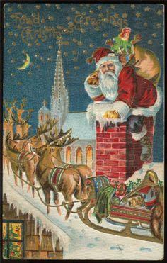 Christmas Santa Claus on Chimney Wtoys Reindeer Sled c1910s Gold Embossed PC   eBay