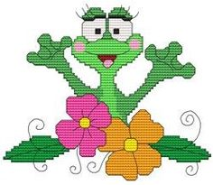 Funny Frog Flowers Cross Stitch Pattern (257762) Embroidery Patterns by Cross Stitch Wonders