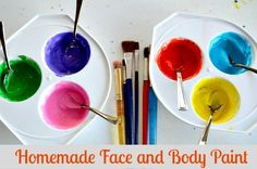 Homemade Face paint 2 TSP corn starch 1 tsp body lotion/cream 1 tsp water. Food color